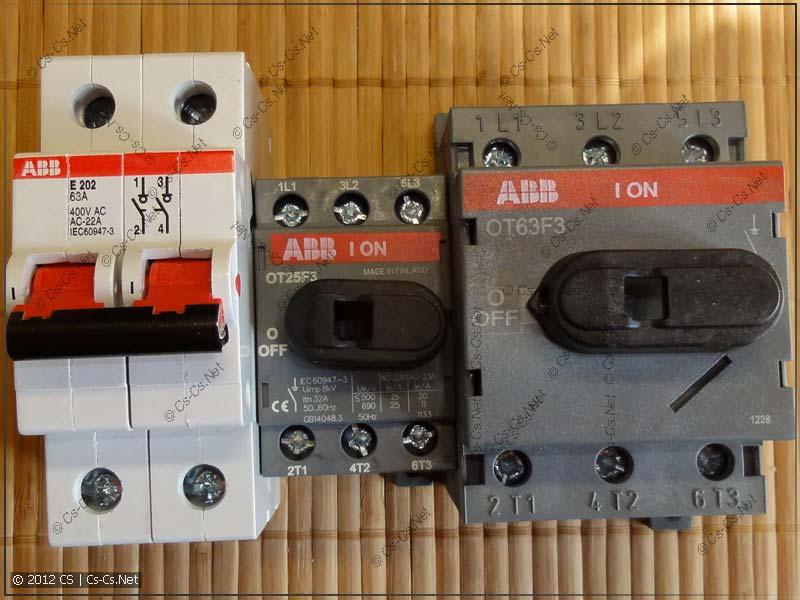 Рубильники (разъединители) ABB серии E200 и OT