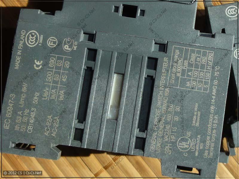 Маркировка рубильника ABB OT63F3