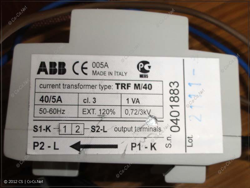 Трансформатор тока ABB TRF/M и обозначения контактов на нём