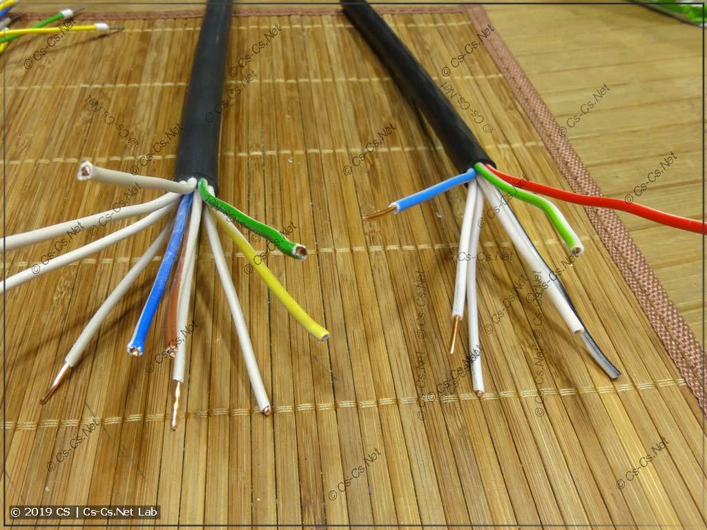 Кабели КВВГ на 7 и 10 жил разных заводов (счёт жил кабеля)