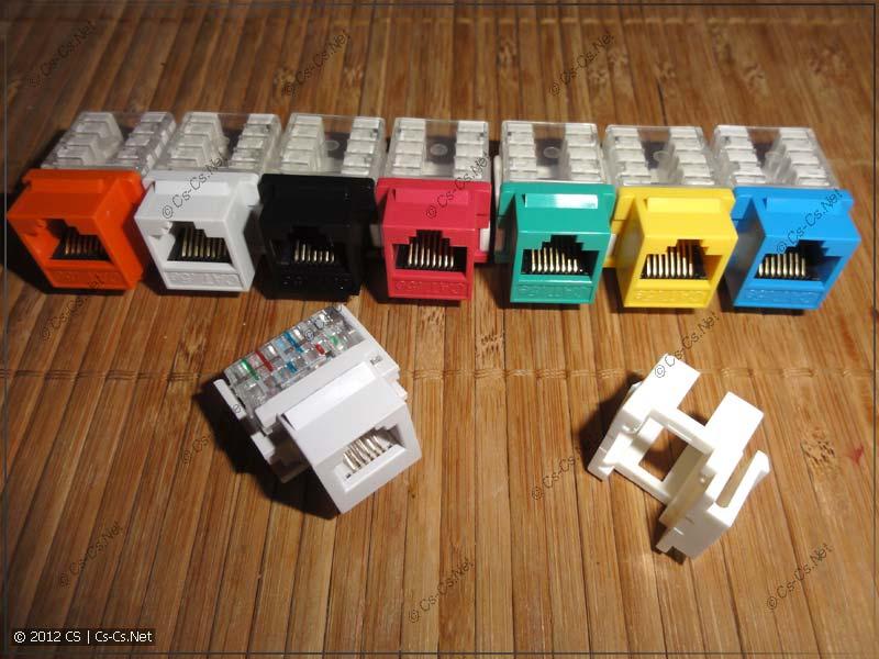 Популярные типы и цвета модулей KeyStone Jack