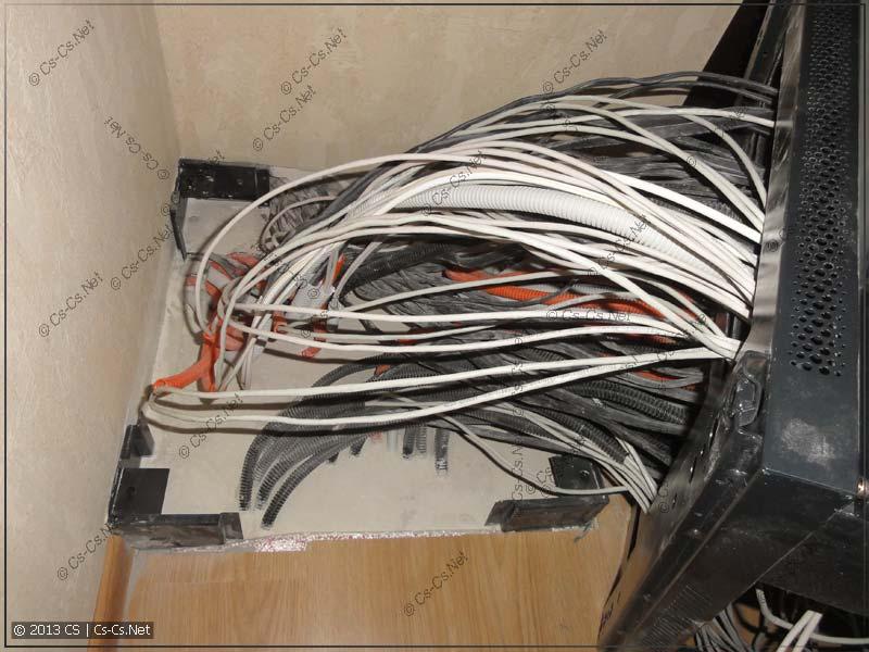 """Вывод кабелей для 19"""" шкафа из цоколя в полу"""