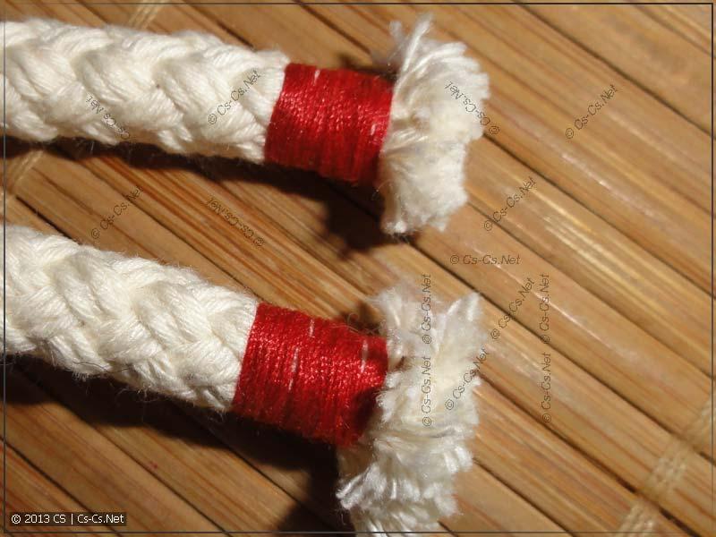Заделка концов верёвки и одновременно цветовая маркировка
