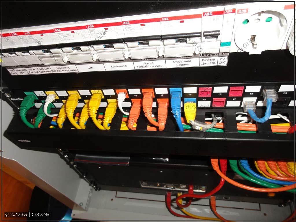 Весь монтаж около патч-панели окучен при помощи кабельного органайзера