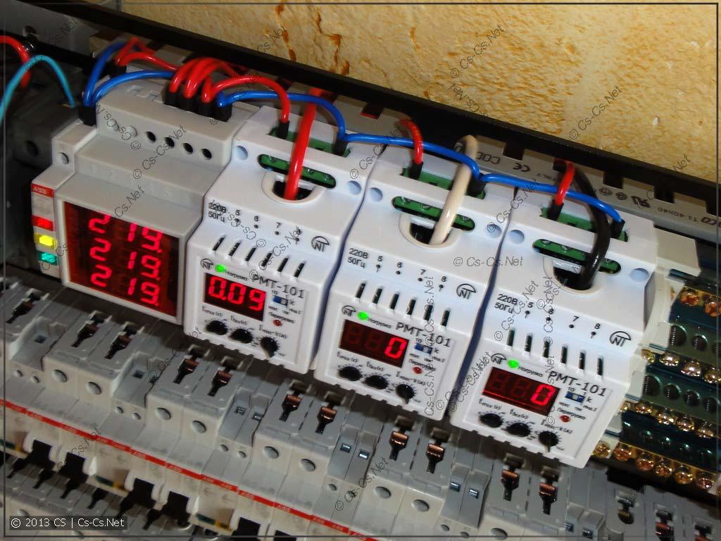 Щит 1: Контроль напряжения и тока (измерение тока по фазам)
