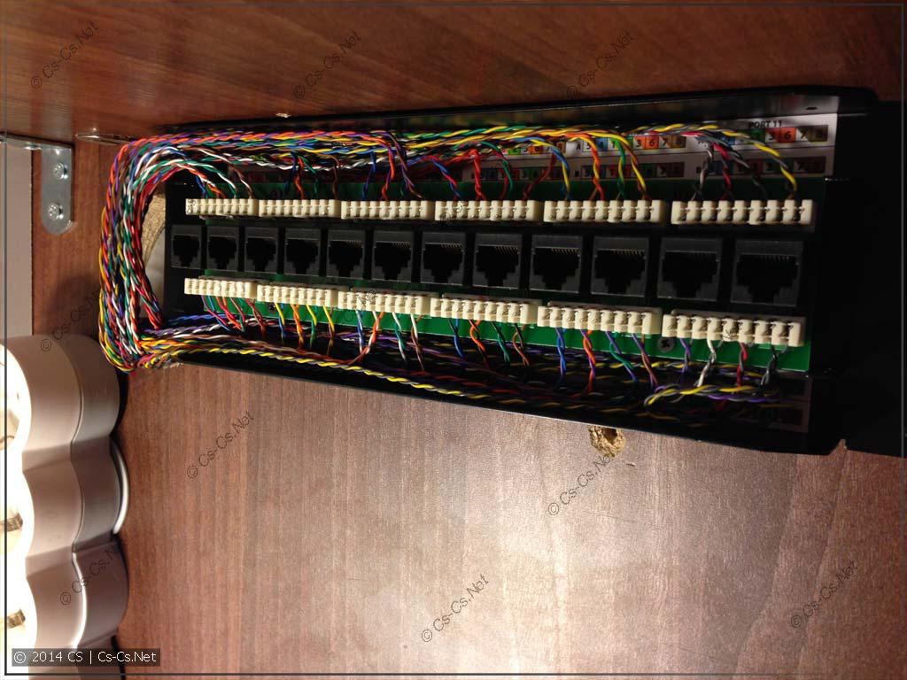 Многопарный кабель, расшитый на патч-панели