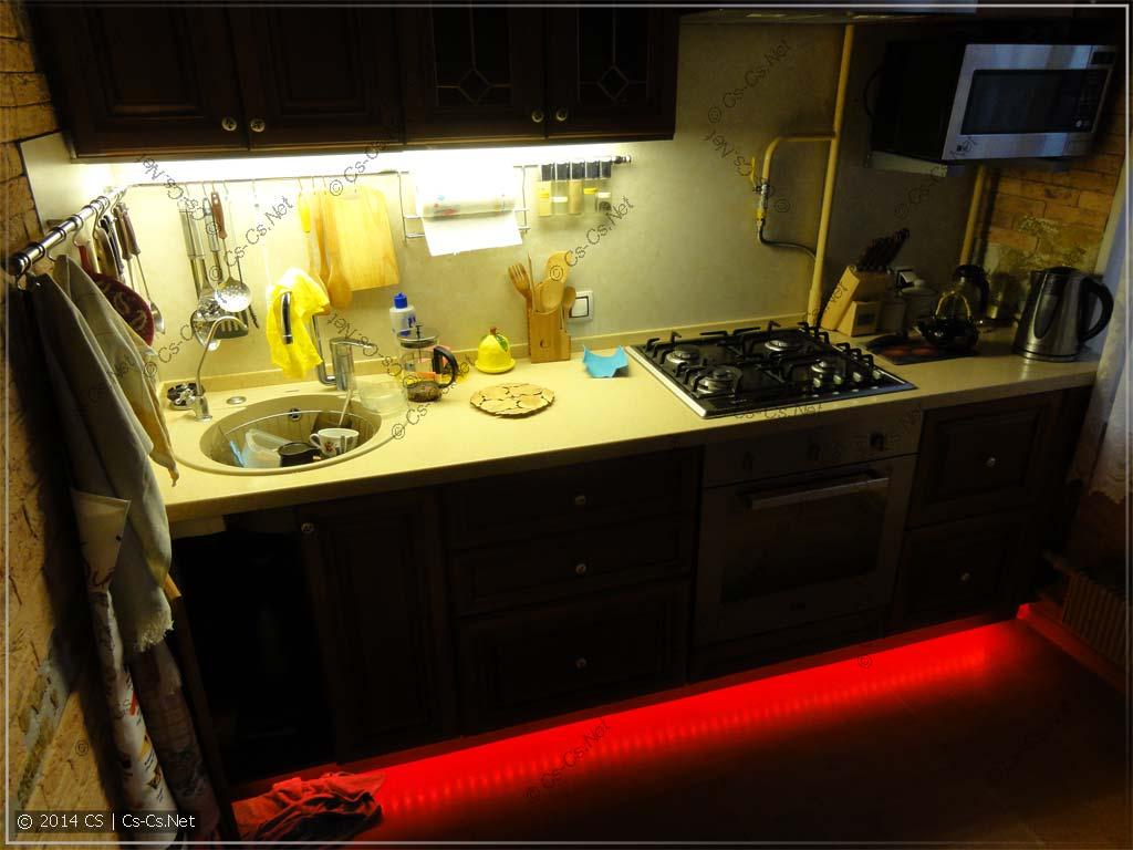 Кухня со светодиодной лентой и новой подсветкой из LED-панелей