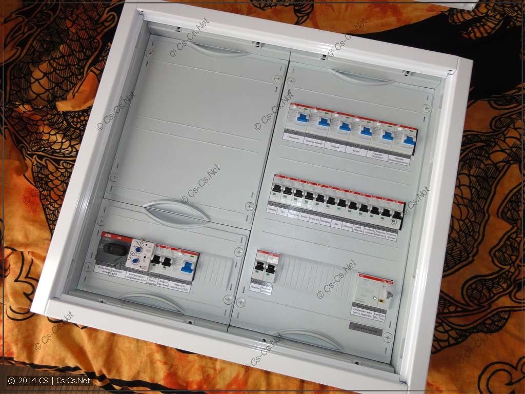 Щиток AT32 с монтажной панелью и переставленными пластронами