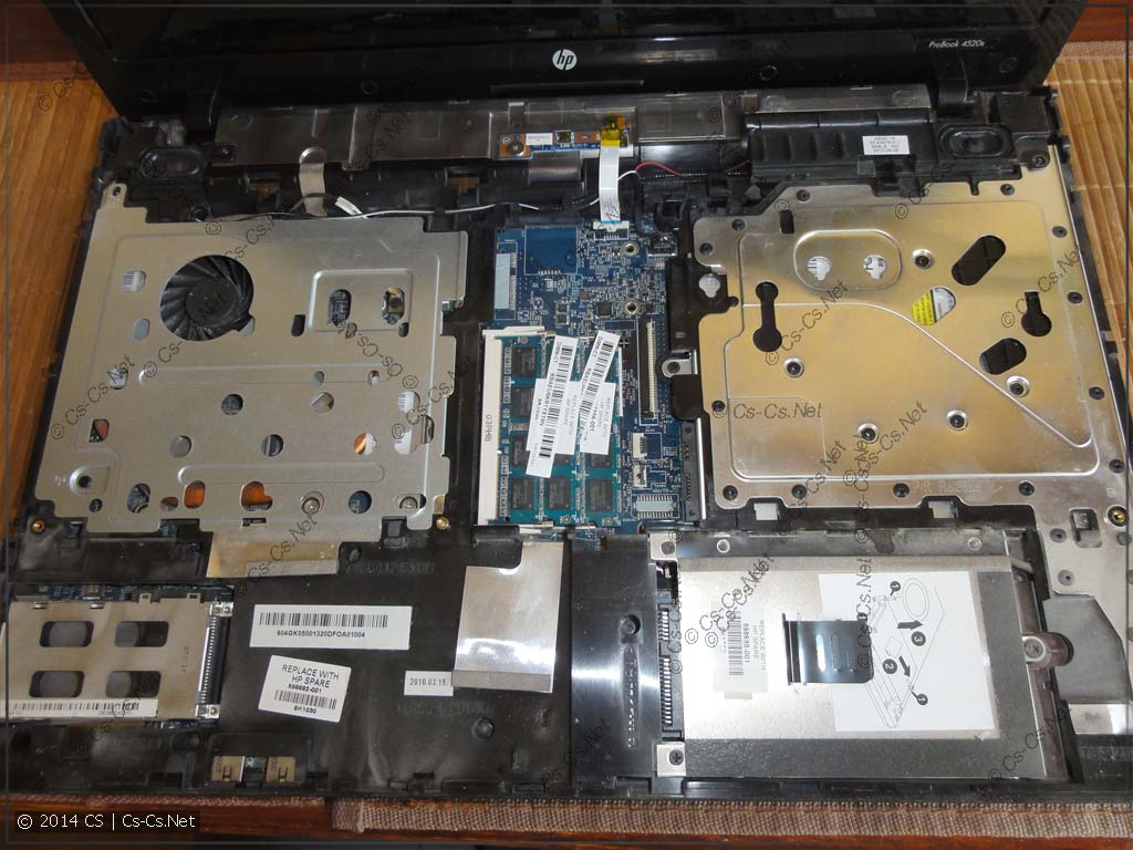 Внутренности HP ProBook 4520s