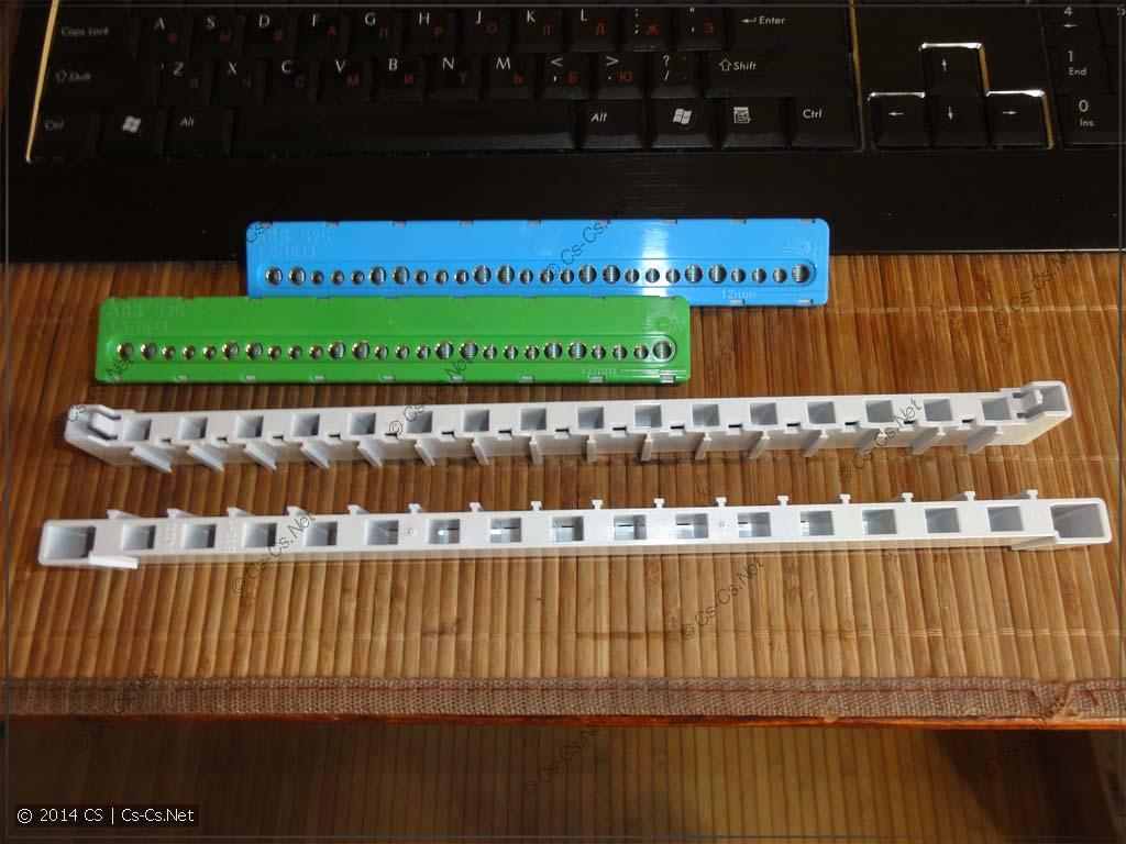 В комплекте щитка идут два держателя и две шинки N/PE