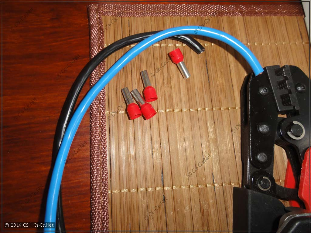 Чтобы сократить операции - режем два провода, а потом жмём их