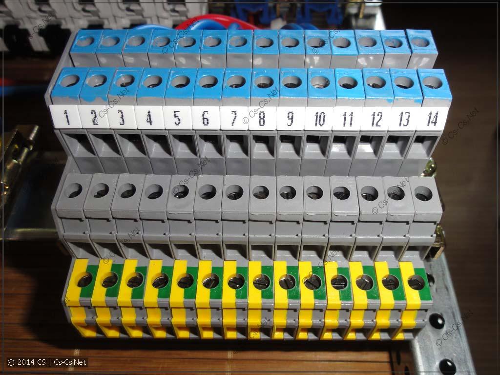 Щиток в ЕКБ: Клеммы для подключения освещения (другая сторона)
