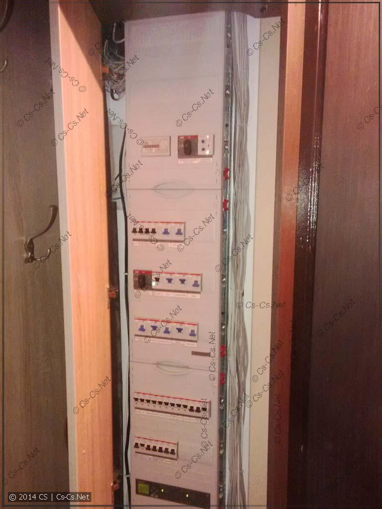 Дверка шкафа с щитком открыта