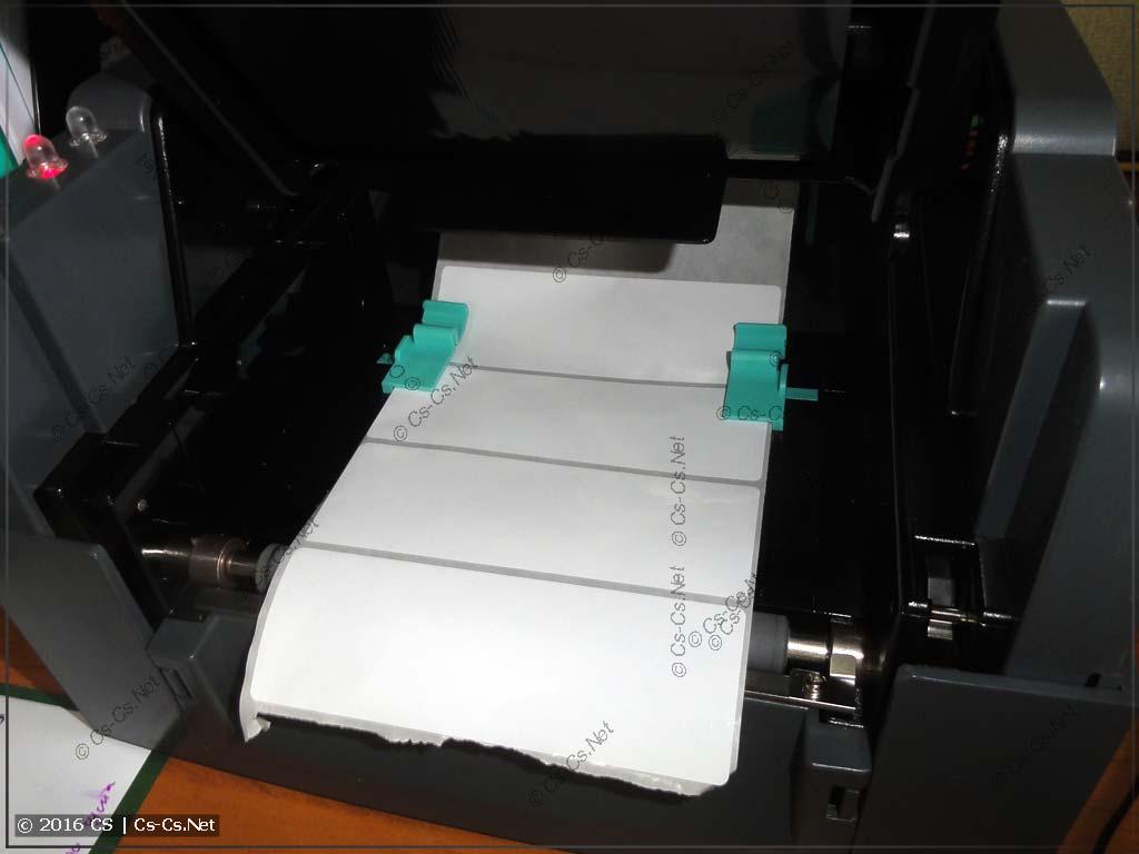 Установка этикеток нужного формата в принтер