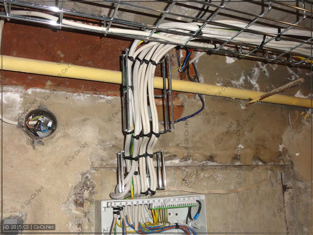 Опуск кабелей к щитку коммутации