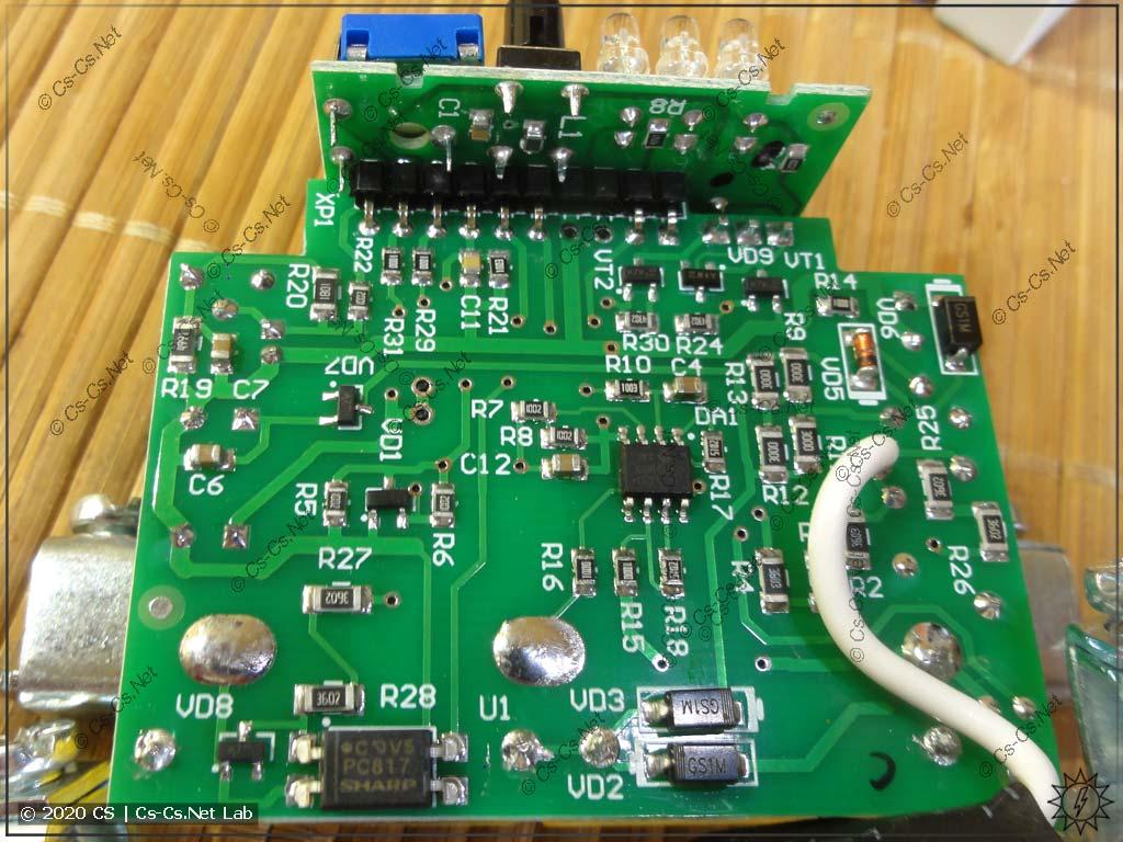 Задняя сторона силовой платы реле РН-263t (видна пайка шунта тока и ADC для его измерения)