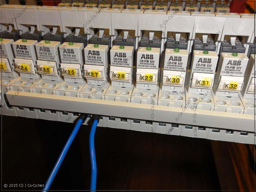 Пример реле в щите и подключение тестового провода