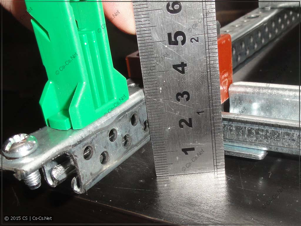 Полезная глубина рейки для клеммников модуля MBK