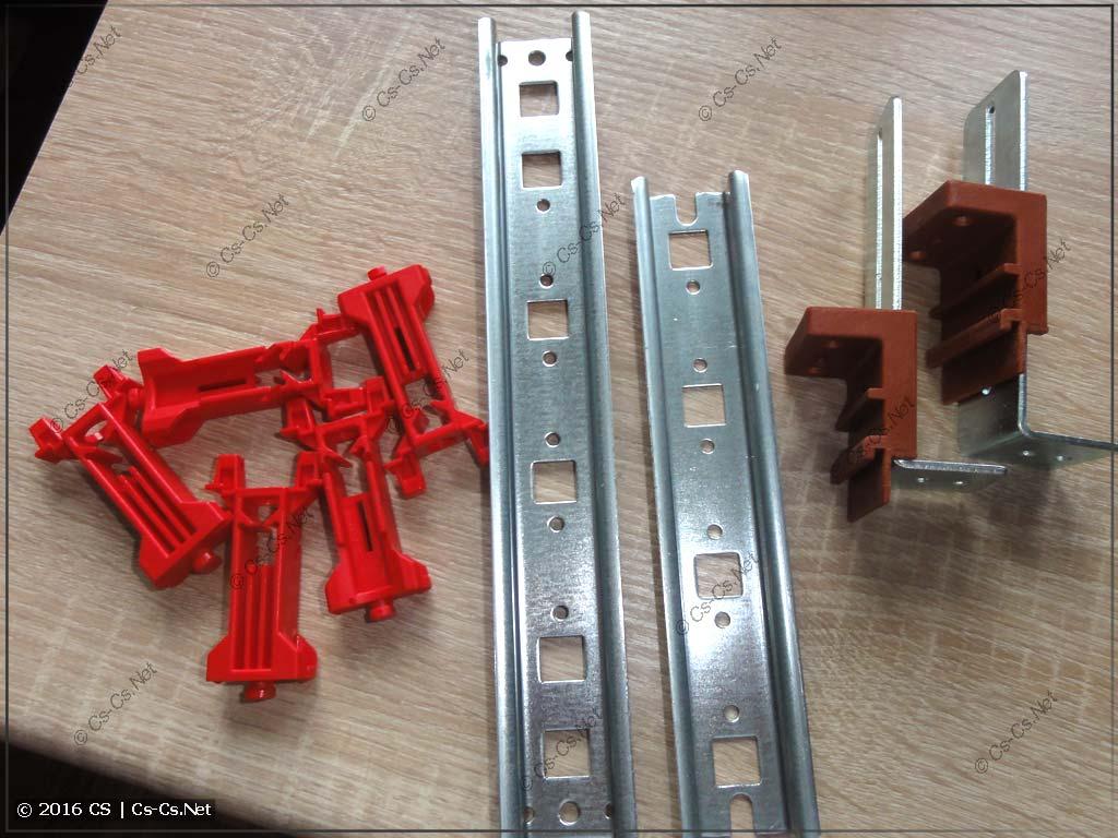 DIN-рейка толщиной 155 мм и высокие красные стойки