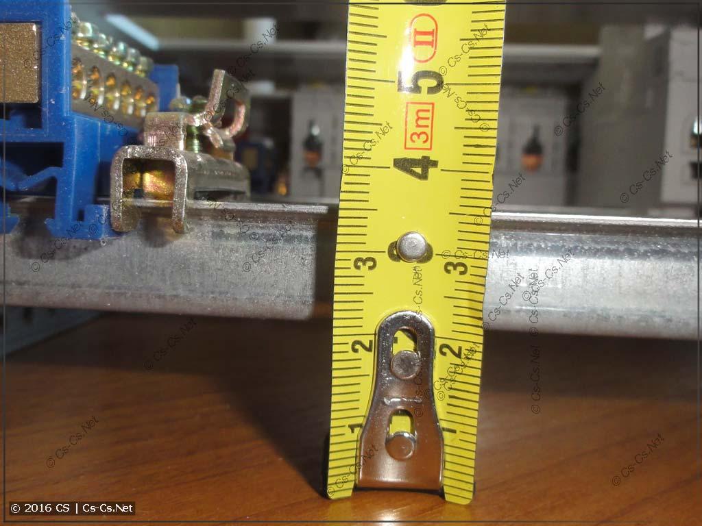 Высота DIN-рейки (15 мм) в EDF-панели