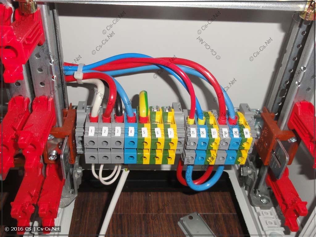 Сборка щита коттеджа: клеммы ввода кабелей снизу шкафа
