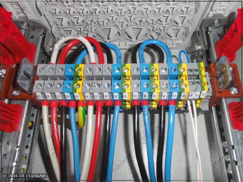 Сборка щита коттеджа: клеммы ввода кабелей сверху шкафа