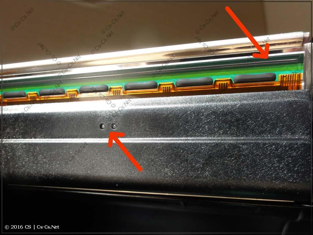 Термотрансферный принтер GODEX G500: Печатающая головка и датчик риббона