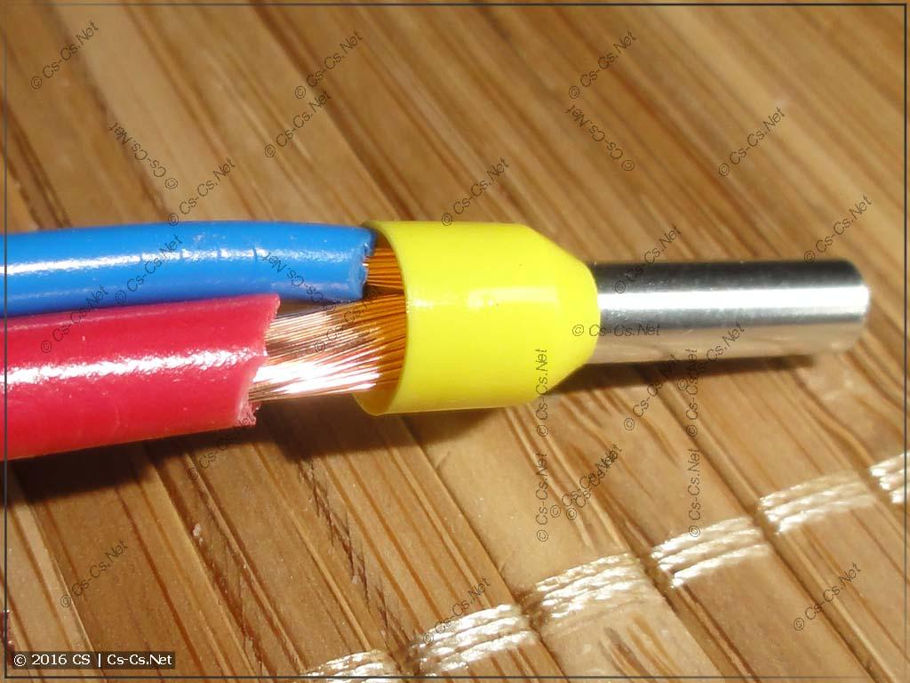 Хитрость: в наконечник НШВИ можно прессовать провода разных сечений