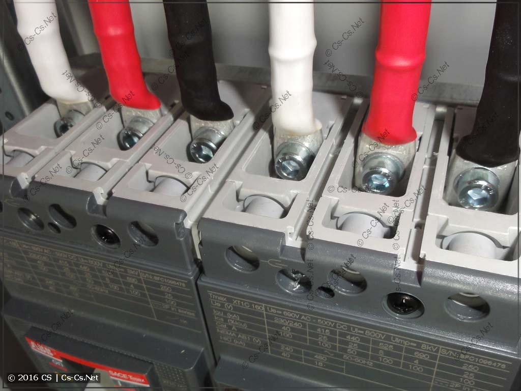Пример подключения автомата TMax XT1 наконечниками ТМЛ