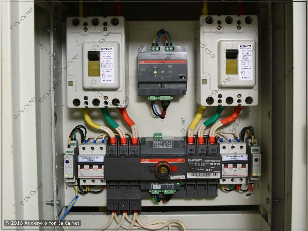 Установка рубильника с моторным приводом ABB OTM для АВР в ВРУ жилого дома