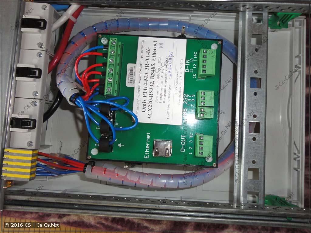 Установка анализатора OMIX ElNet в щит ABB