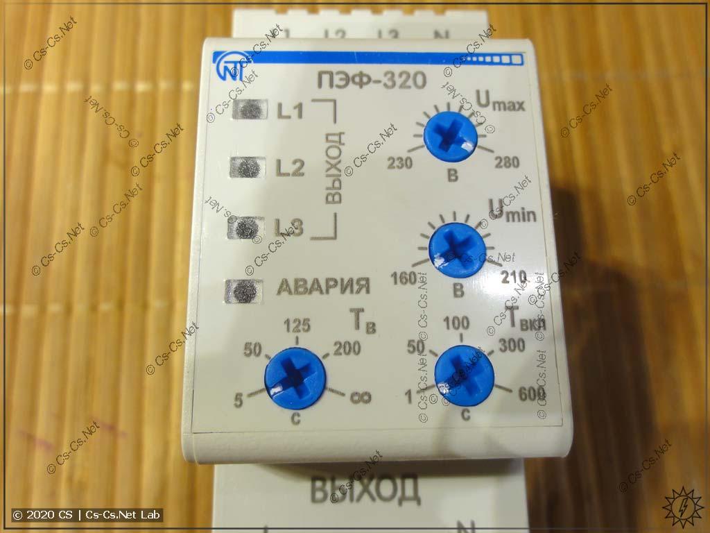 Передняя панель ПЭФ-320 со стандартными для таких переключателей настройками