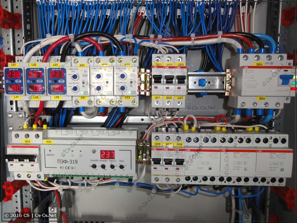 Часть защиты ввода и переключателя фаз