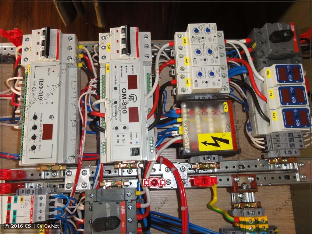 Силовая часть щита на базе ограничителя мощности OM-310 и переключателя фаз ПЭФ-319