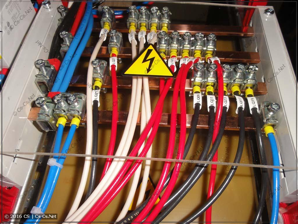 Шинный кросс-модуль подключен и закрыт защитной крышкой