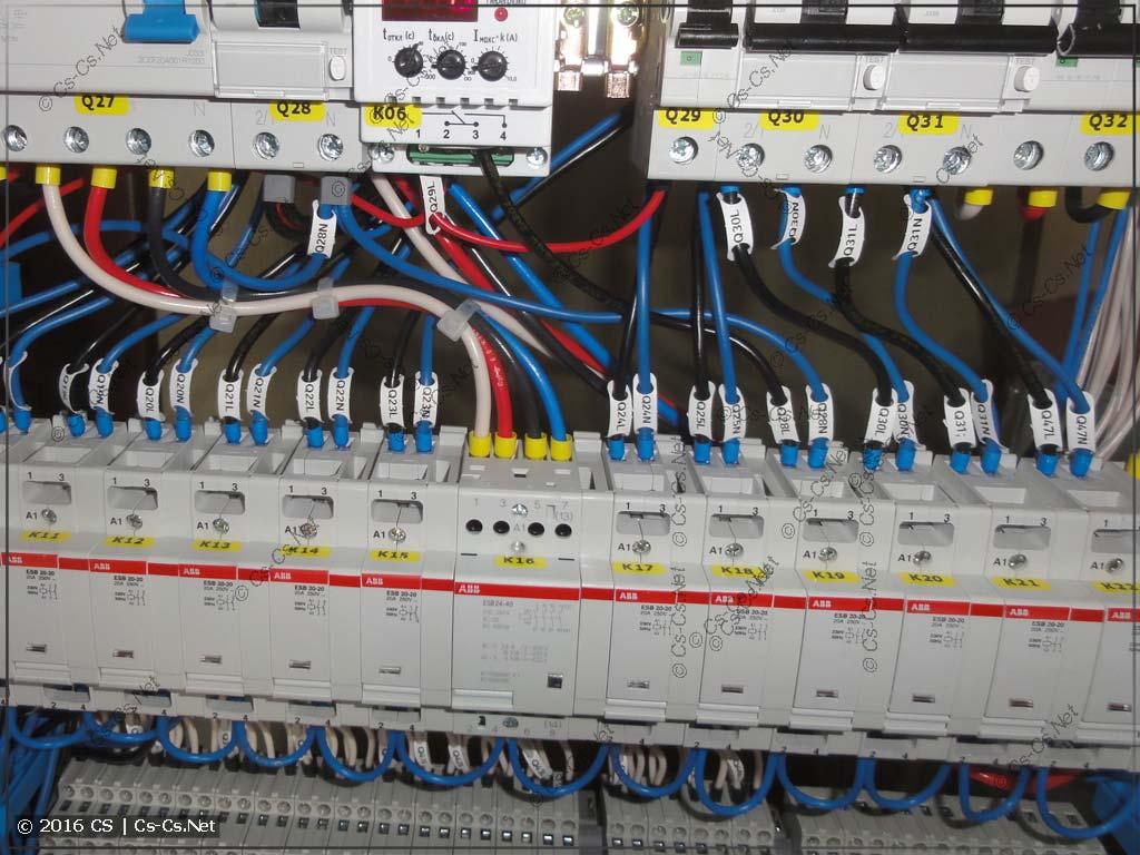 Подвод силовых линий к контакторам ESB