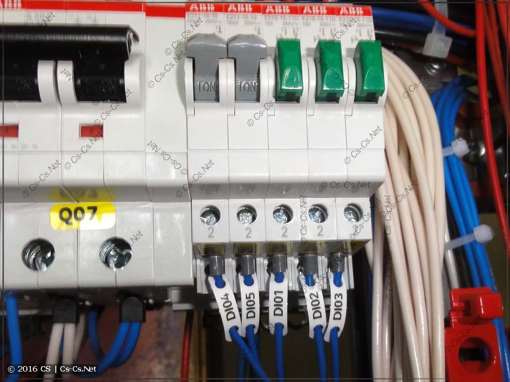 Кнопки тестовых сигналов для проверки ПЛК и щита