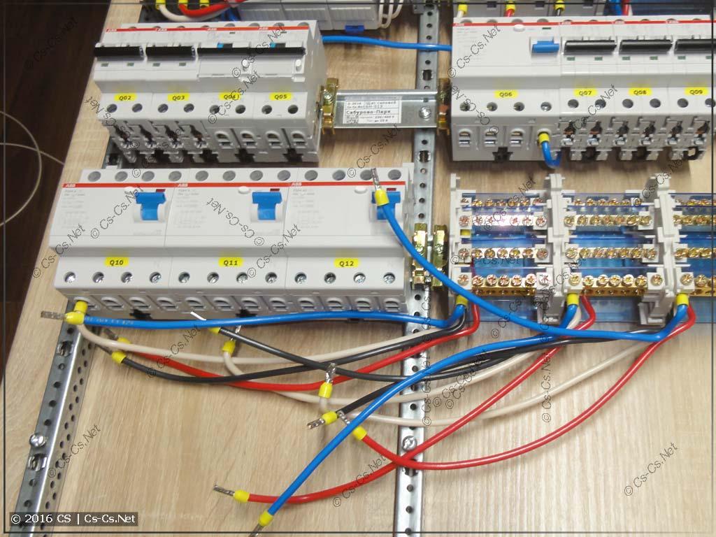 Подключаем кросс-модули после УЗОшек по бюджетной трёхфазной схеме