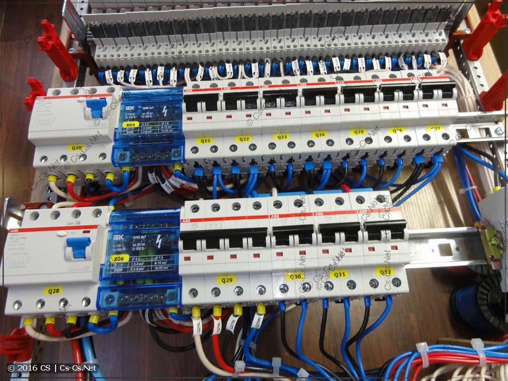 Подключение автоматов силовых линий (трёхфазная бюджетная схема)