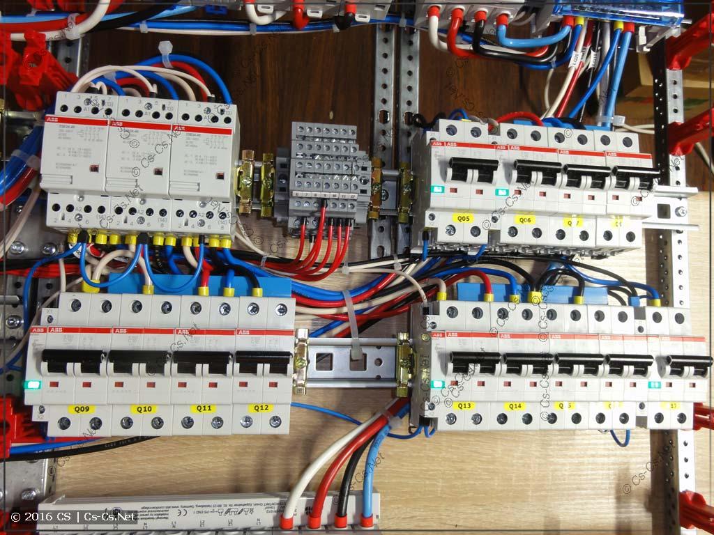 Секция щита для управления освещением (отключение света по этажам таунхауса)