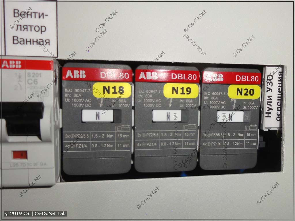 Распределтельный блок ABB/TE DBL80 под пластроном щита