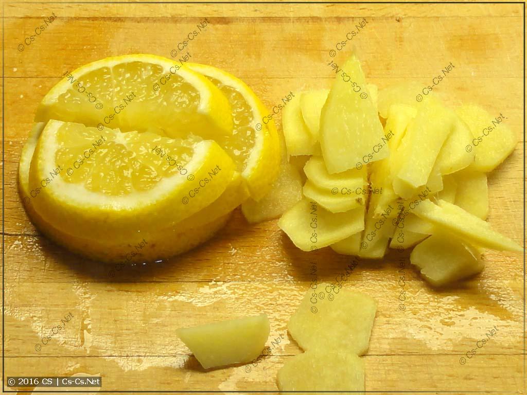 Режем лимон и корень имбиря