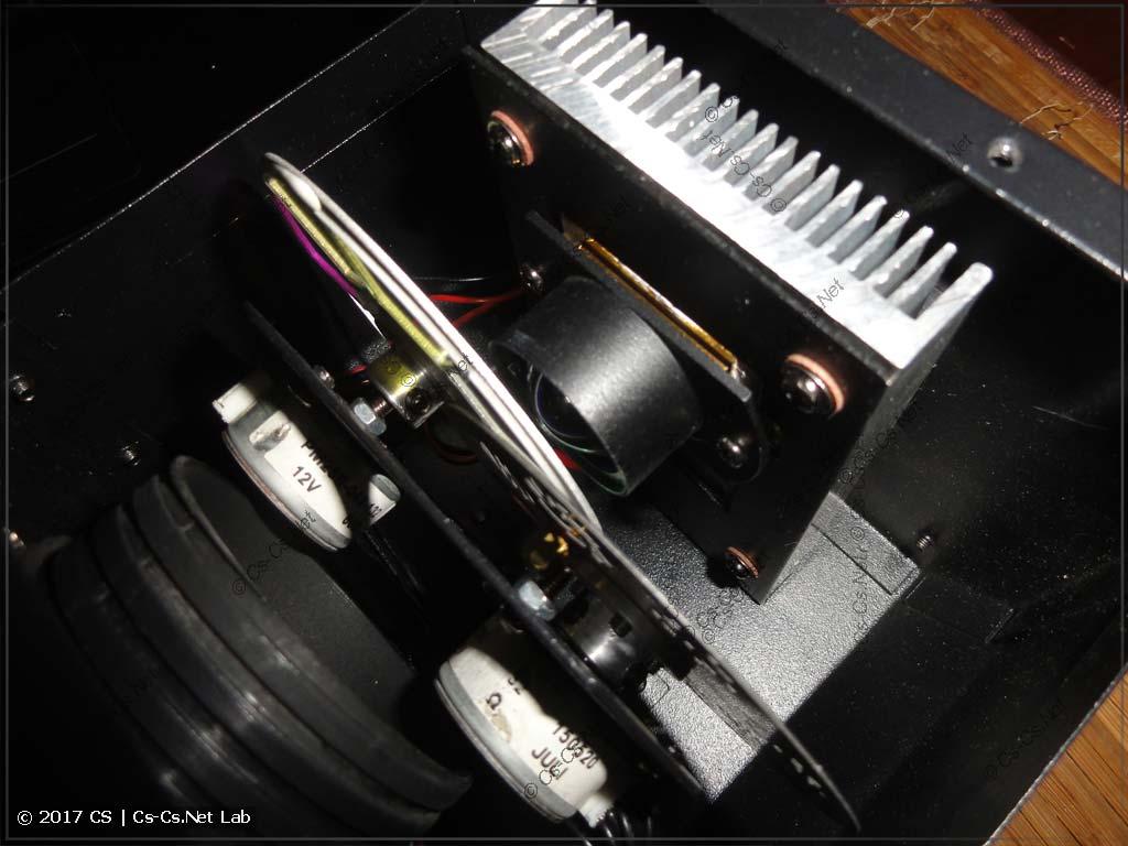 Оптическая часть сканера на SSD90: диск цветов, гобо и светодиод с линзой