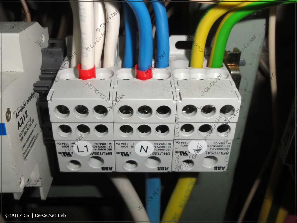 Блоки BRU и их расключение на отводы на вводные автоматы