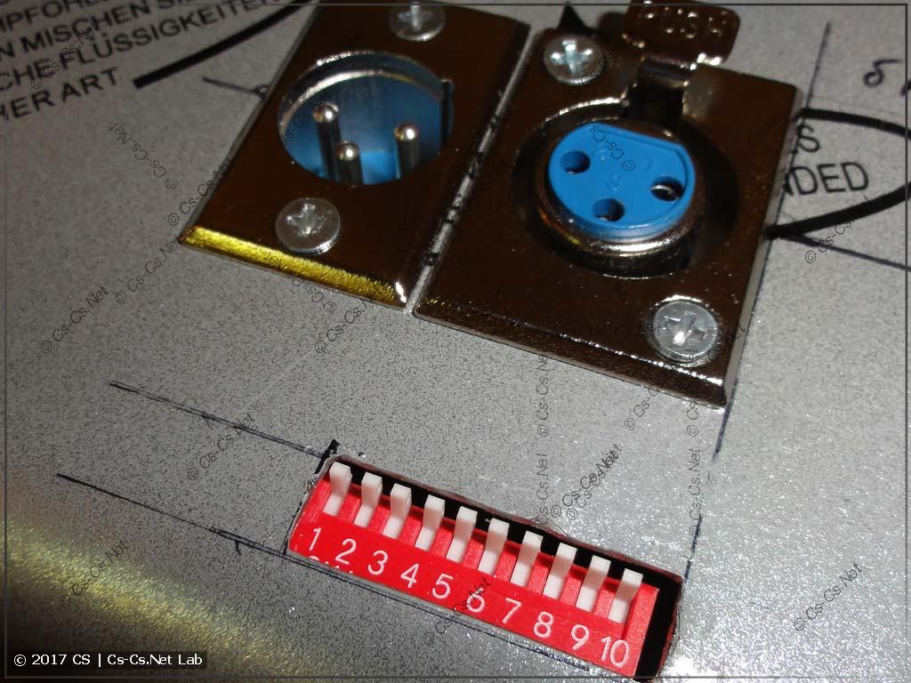 Патчим дымовую установку на DMX: установили платку и прорезали дырку для переключателей адреса