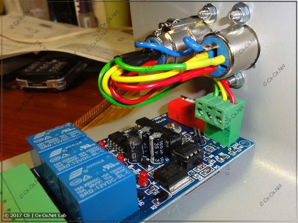 Подключаем платку DMX Relay к разъёмам