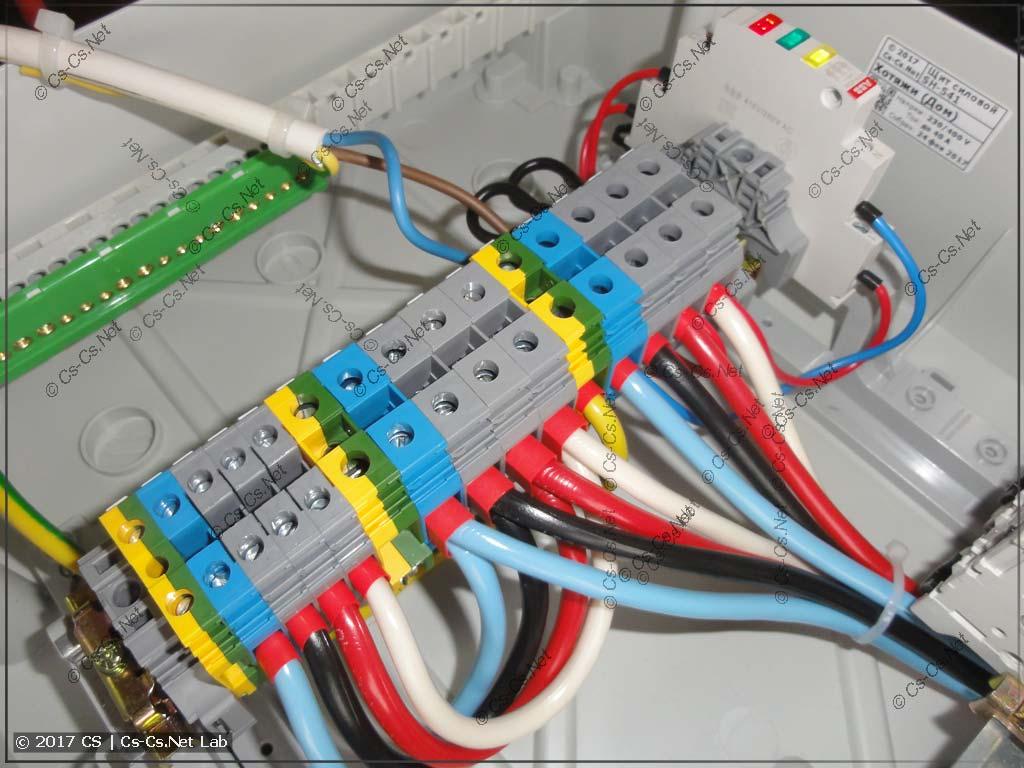 Силовой щит бани дачного дома - клеммы для шлейфа питающего кабеля