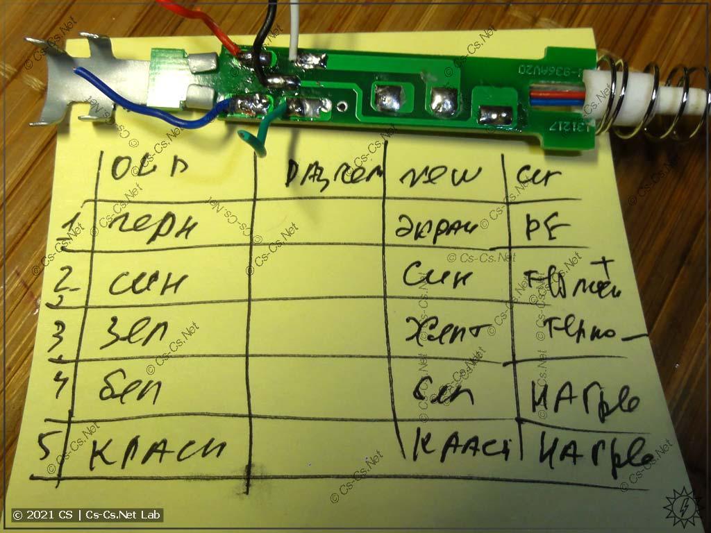 Назначение контактов разъёма и кабеля паяльной станции 898BD