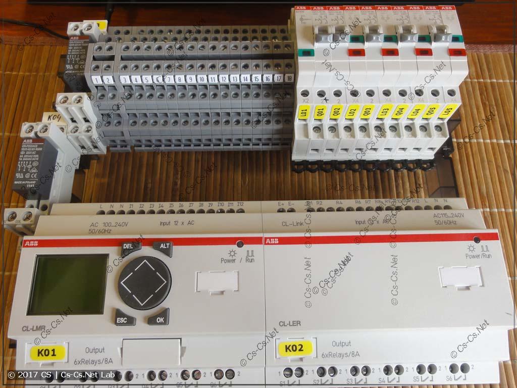 Собираем щит автоматики санузла на ПЛК: ставим все комоненты на рейки
