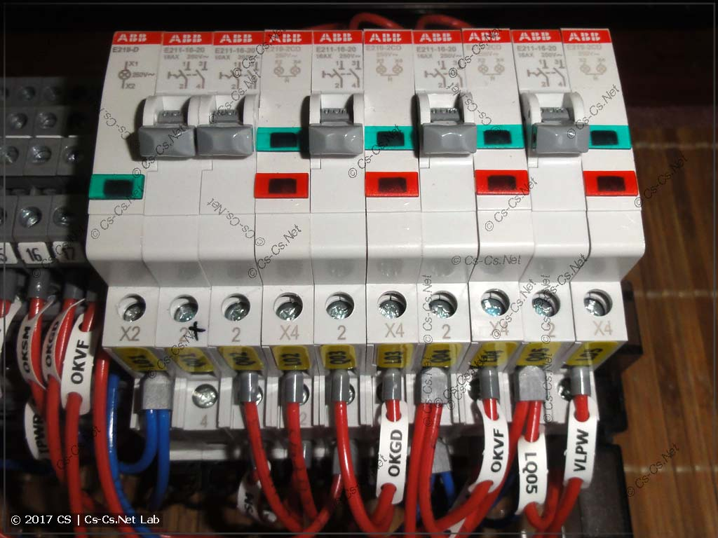 Переключатели и лампочки ABB E210 для управления автоматикой